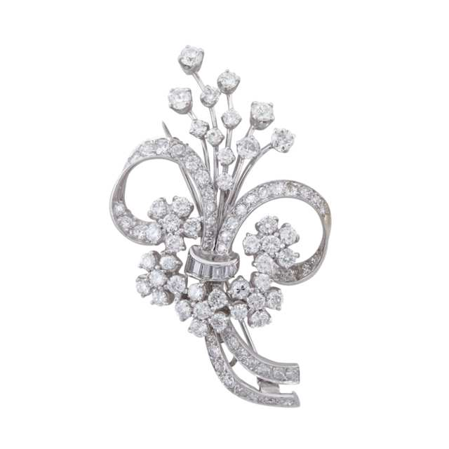 Platinum And 14k White Gold Floral Spray Brooch/Pendant