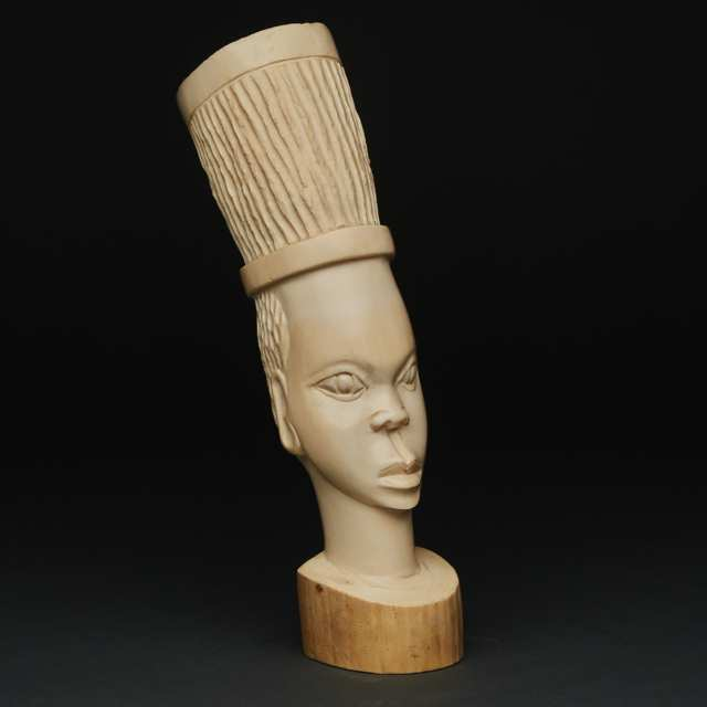 African Carved Ivory Female Bust