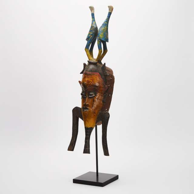 Modern Senufo Mask with Twin Bird Surmount, West Africa