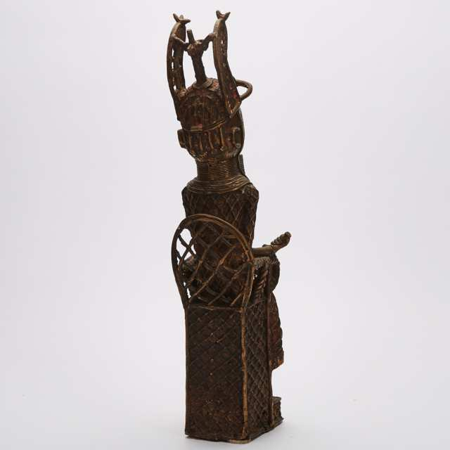 Benin Bronze Seated Oba Figure, West Africa