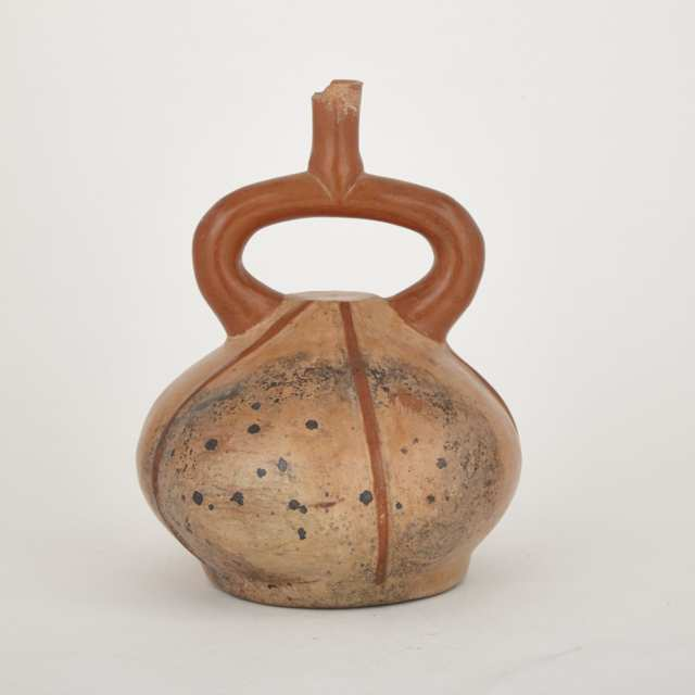 Early Mochica Painted Pottery Stirrup Vessel, Peru, 400-100 B.C.