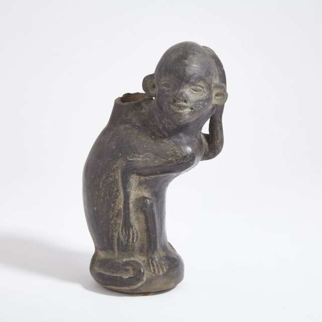 Chimu Blackware Pottery Monkey Form Vessel, Peru, 1000-1300 A.D.
