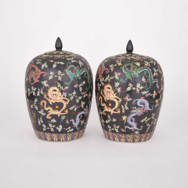 Pair of Famille Noir Covered Jars, Qianlong Mark, Early 20th Century