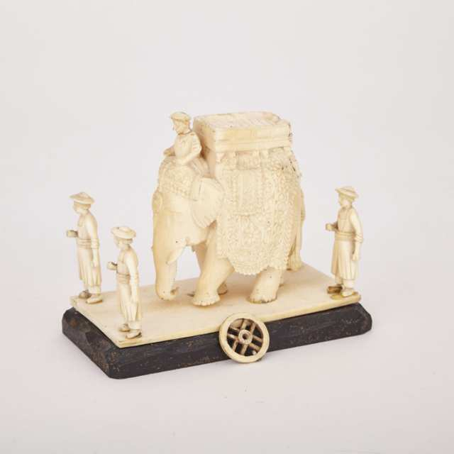 Carved Ivory Elephant with Attendants, Early 20th Century