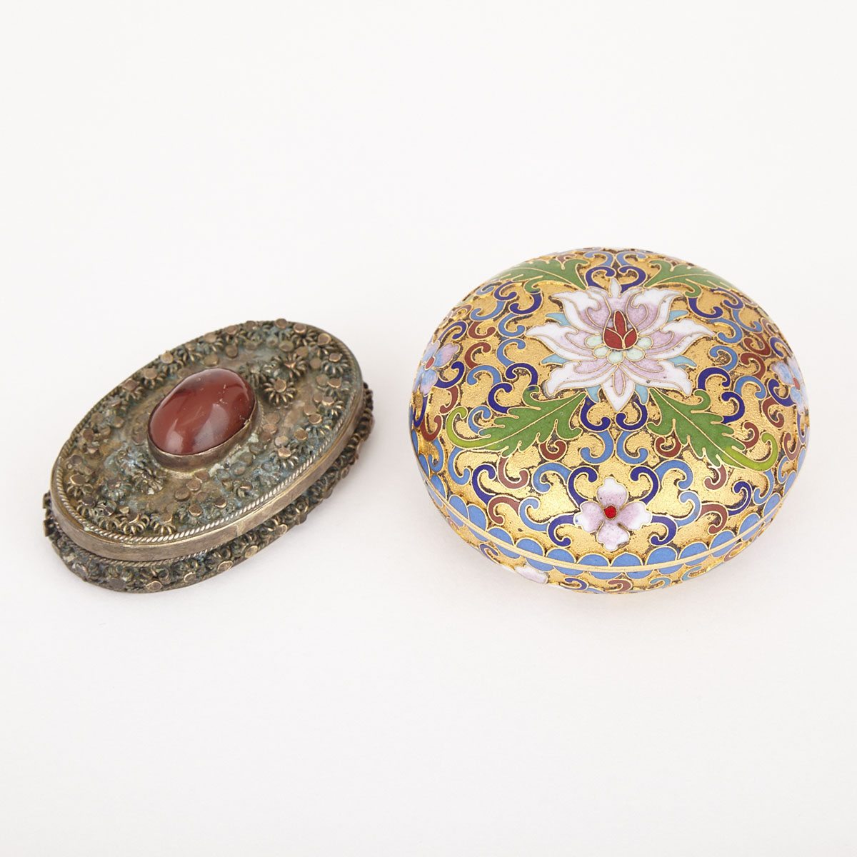 A Persian Cloisonne Cosmetic Box and a Canton Cloisonne, 19th and 20th Century
