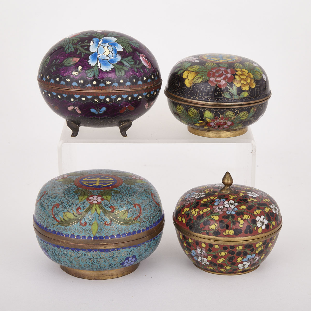 Four Chinese Cloisonne Boxes, Early 20th Century