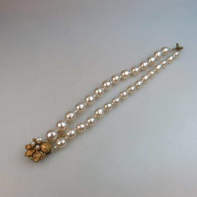 Miriam Haskell Double Strand Faux Pearl Bracelet