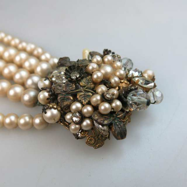 Eugene Bronze Metal And Faux Pearl Five Strand Bracelet
