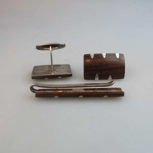 Danish Sterling Silver Tie Bar And Pair Of Cufflinks