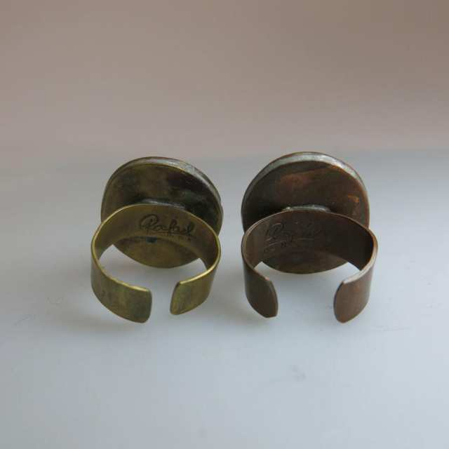 Two Rafael Alfandary Copper And Brass Rings