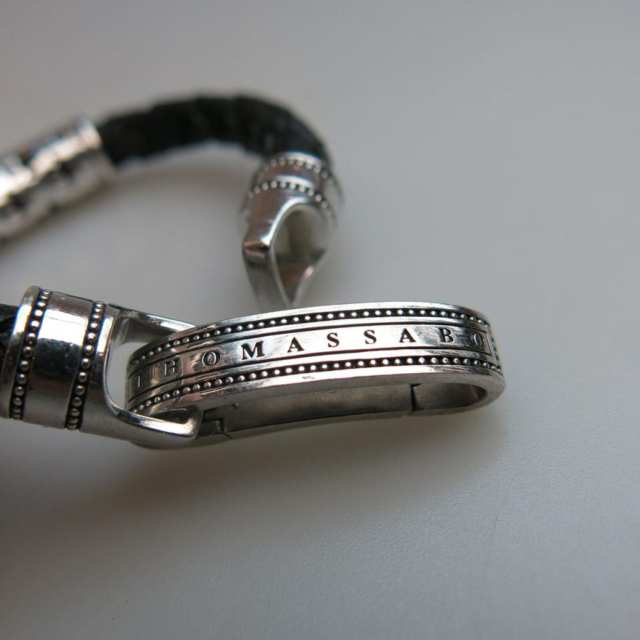 "Thomas Sabo Sterling Silver And Leather ""Rebel at Heart"" Bracelet"
