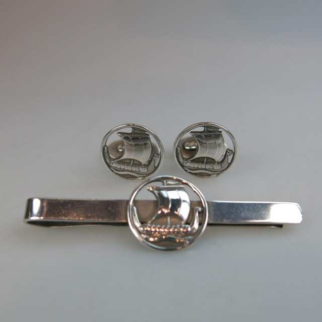 Carl Ove Frydensberg Danish Sterling Silver Tie Bar And Pair Of Cufflinks