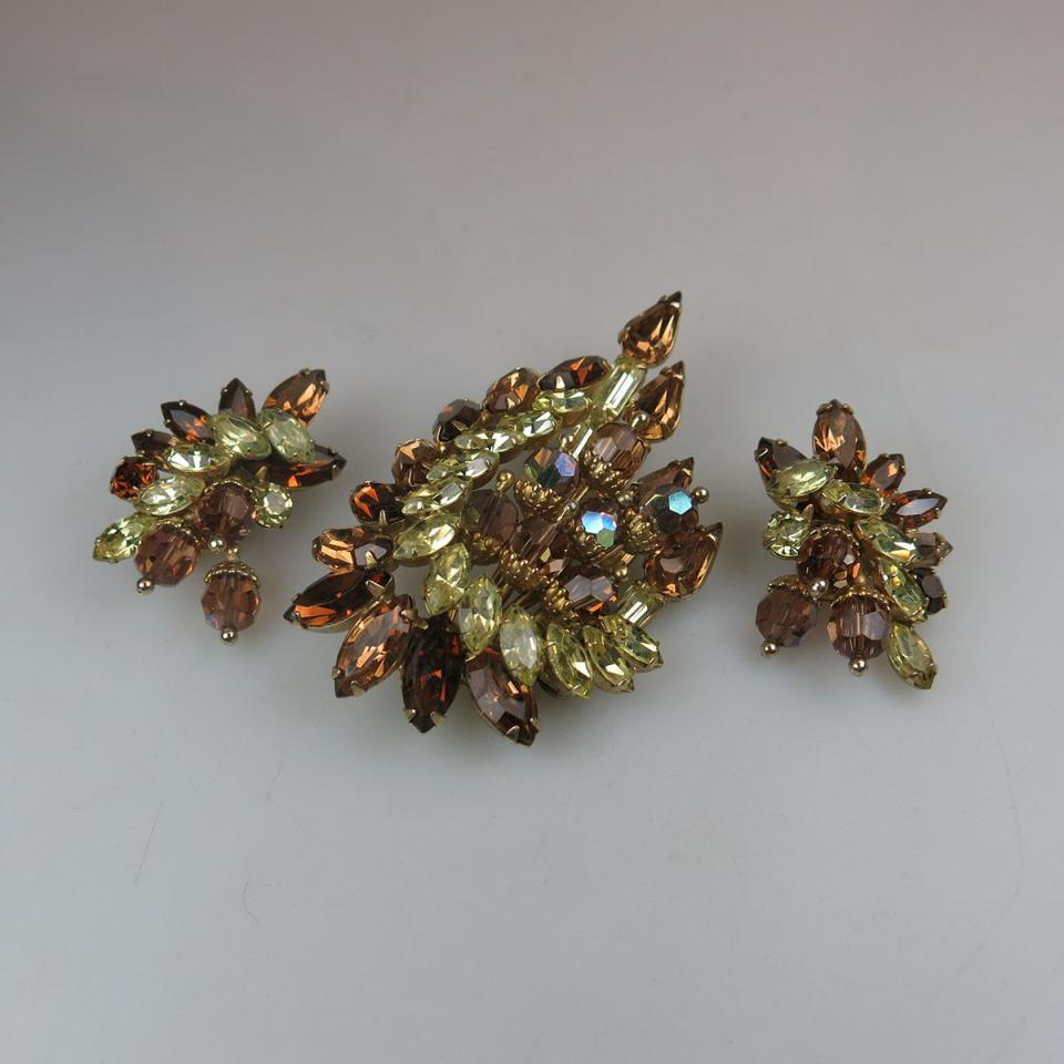 Hobe Gold Tone Metal Brooch And Earring Suite