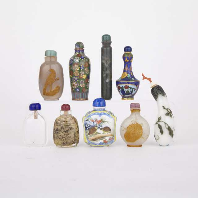 Group of Nine Snuff Bottles, 19th to 20th Century