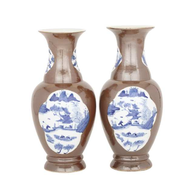 A Pair of Cafe au Lait Landscape Baluster Vases, Early 20th Century