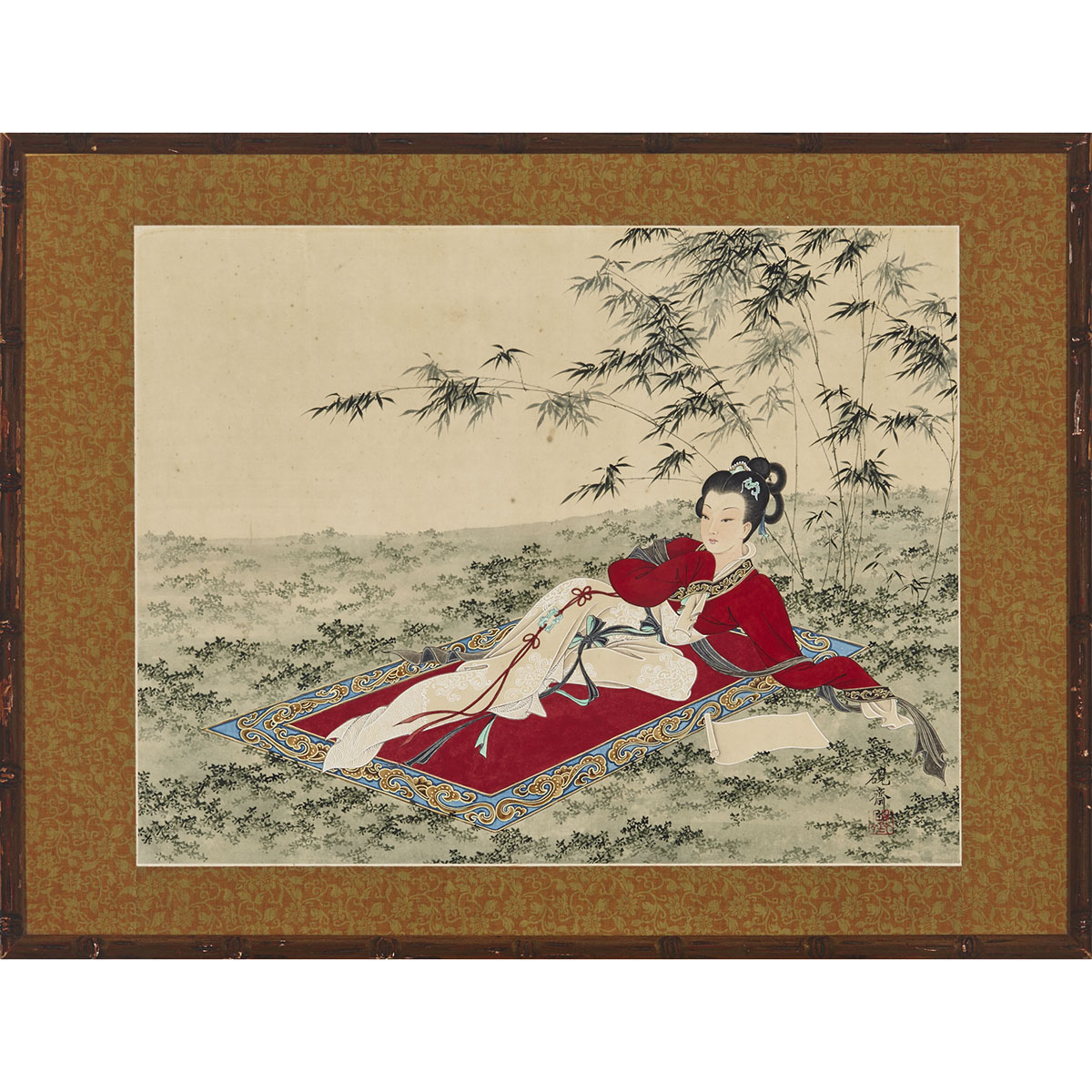 Framed Chinese Painting, Mid-20th Century