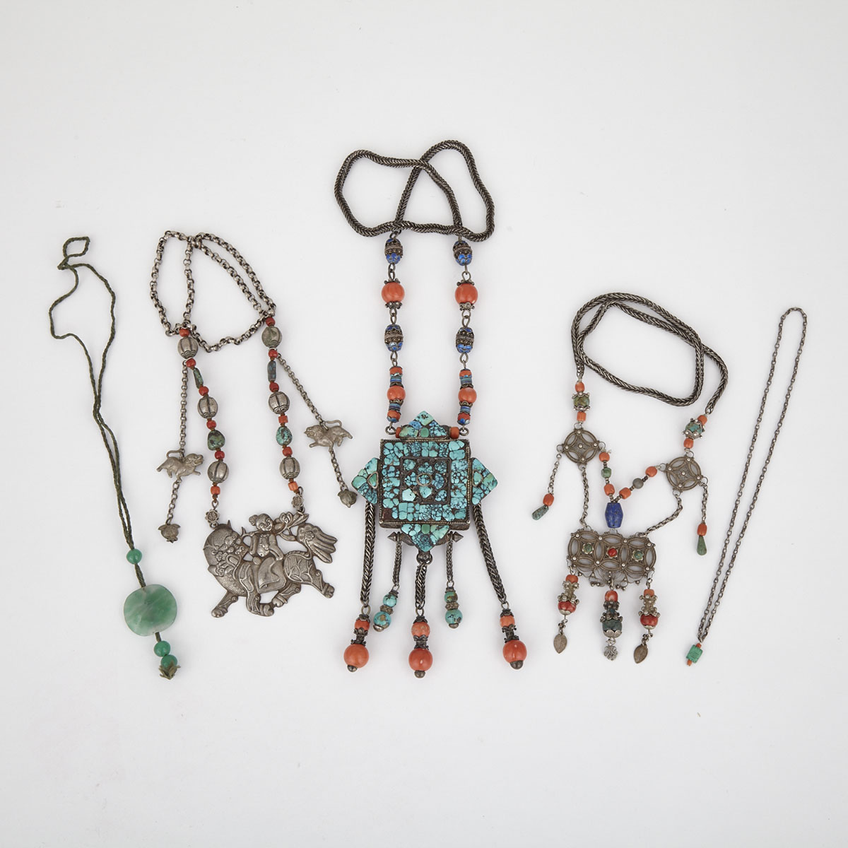 Group of Five Tibetan Necklaces, Early 20th Century