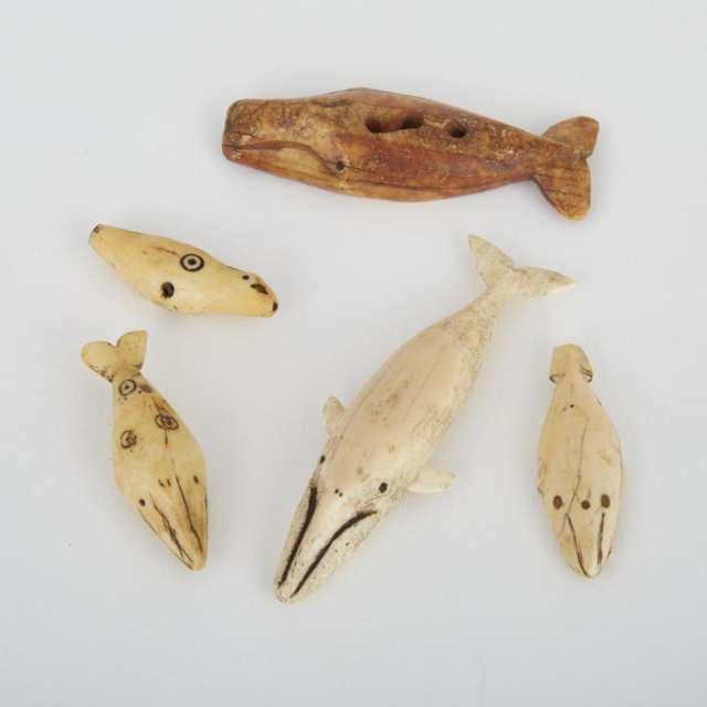 BOWHEAD WHALE AMULET; WHALE TOGGLE; THREE SMALLER WHALE AMULETS