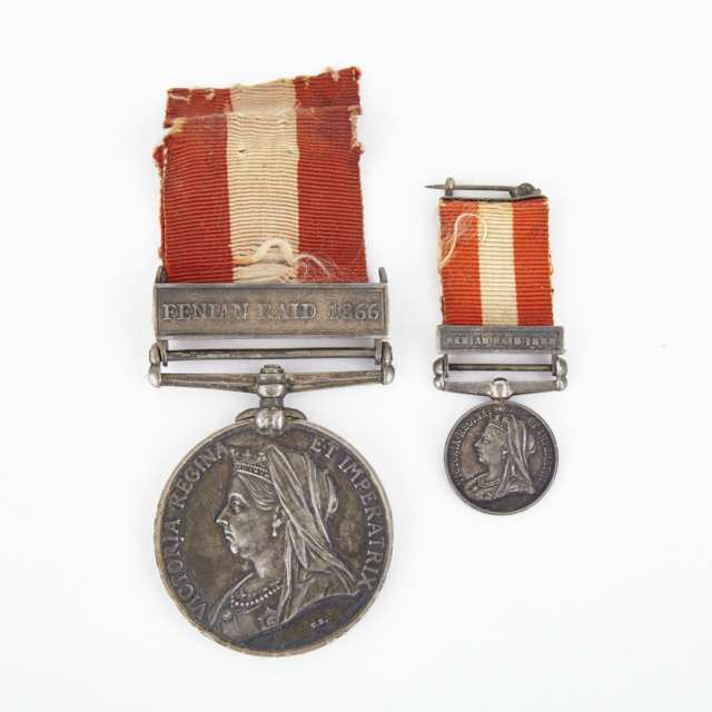 Canadian SIlver General Service Medal and Miniature with Fenian Raid 1886 Bars to Ensign G. N. Babbitt, Victoria Regiment, 1899