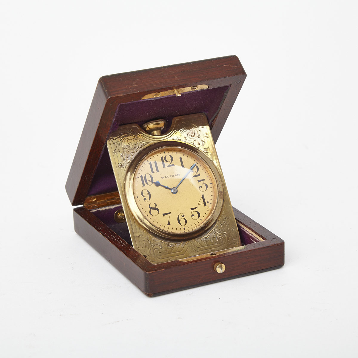 American Waltham Watch Company Mahogany Cased Travel Clock, 19th century