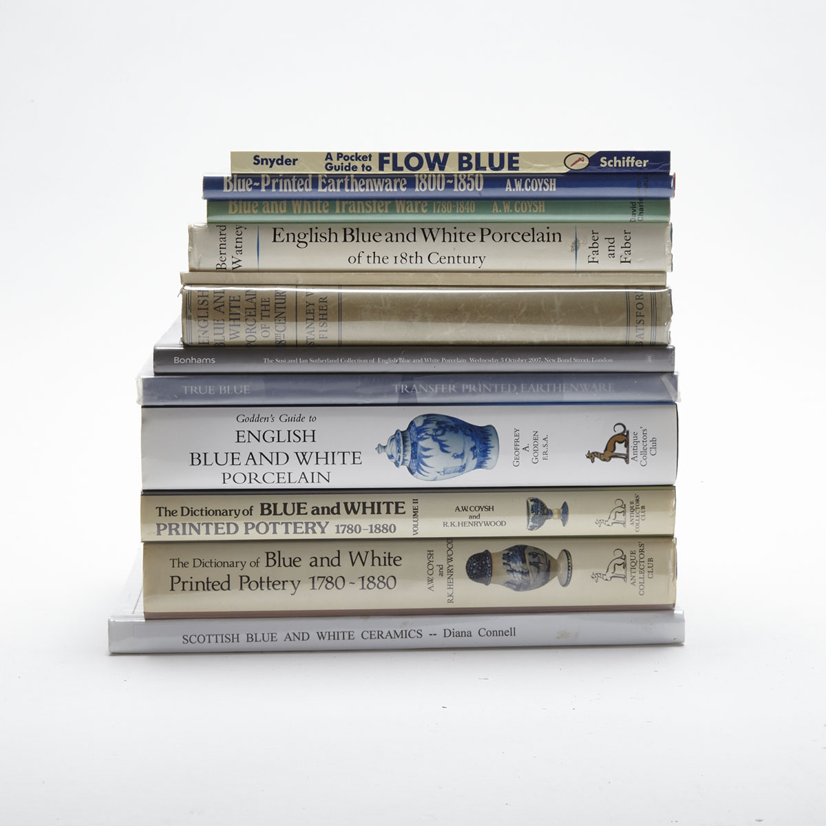 English Blue & White Pottery and Porcelain (12 volumes)