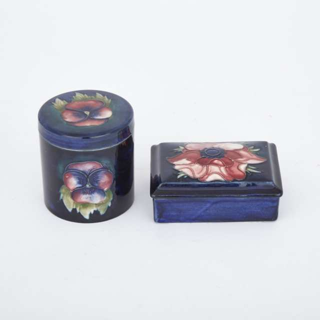 Moorcroft Pansy Covered Jar and Anemone Rectangular Box, mid-20th century