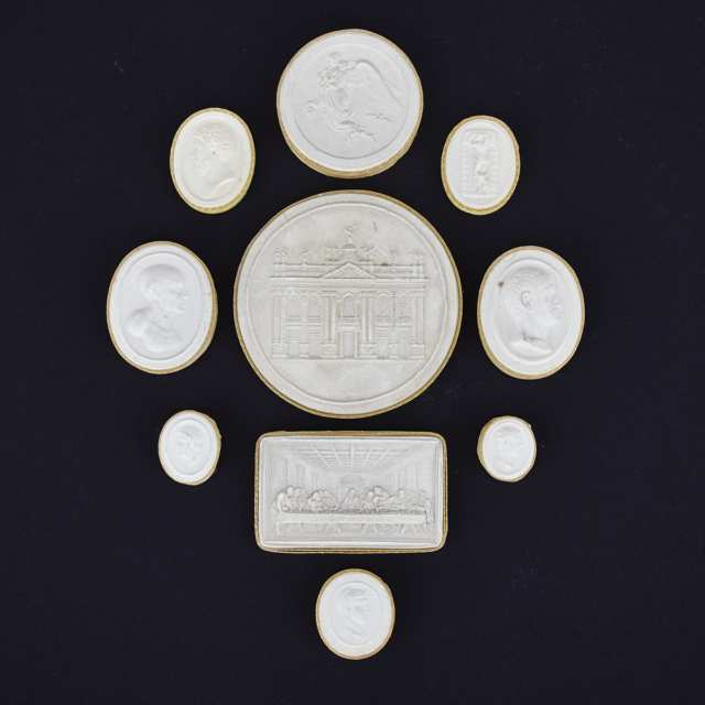 Group of Ten Italian Plaster Intaglios, 19th century