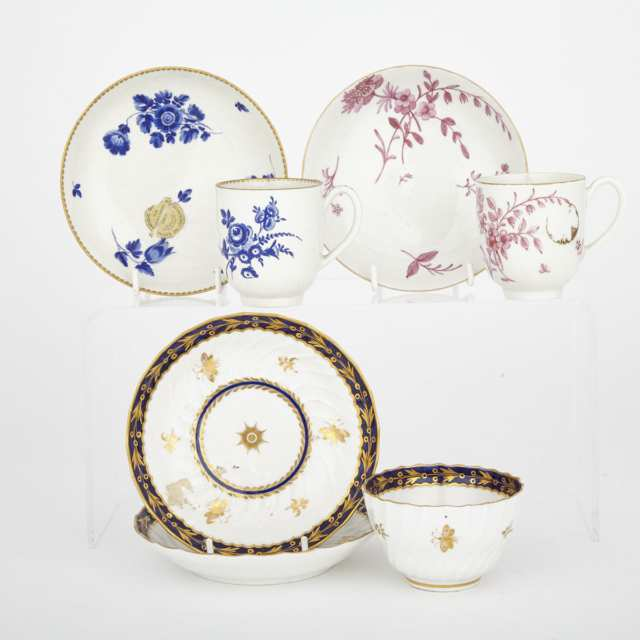 Two Worcester Coffee Cups and Saucers, Fluted Blue and Gilt Tea Bowl and Two Saucers, c.1770-90