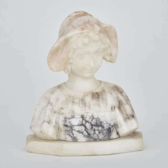Italian Alabaster Bust of a Young Dutch Girl, signed A. Franchini, c.1900