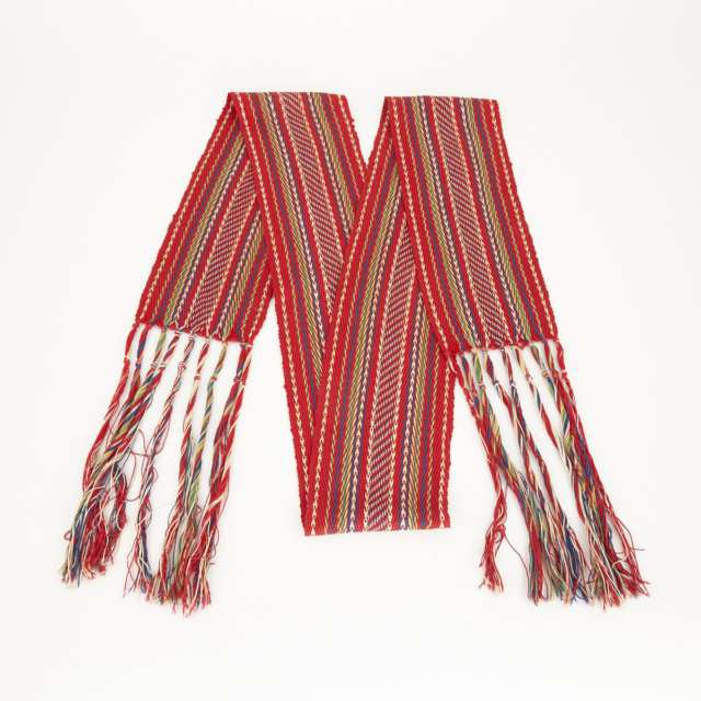 CEINTURE FLÉCHÉE: EASTERN WOODLANDS FINGER WOVEN ARROW ASSOMPTION SASH, EARLY 20TH CENTURY