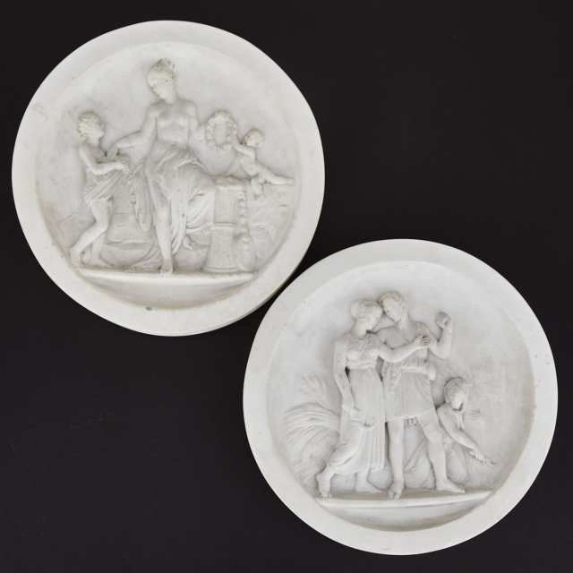 Pair of Italian 'Grand Tour' Relief Carved Marble Roundels, c.1900