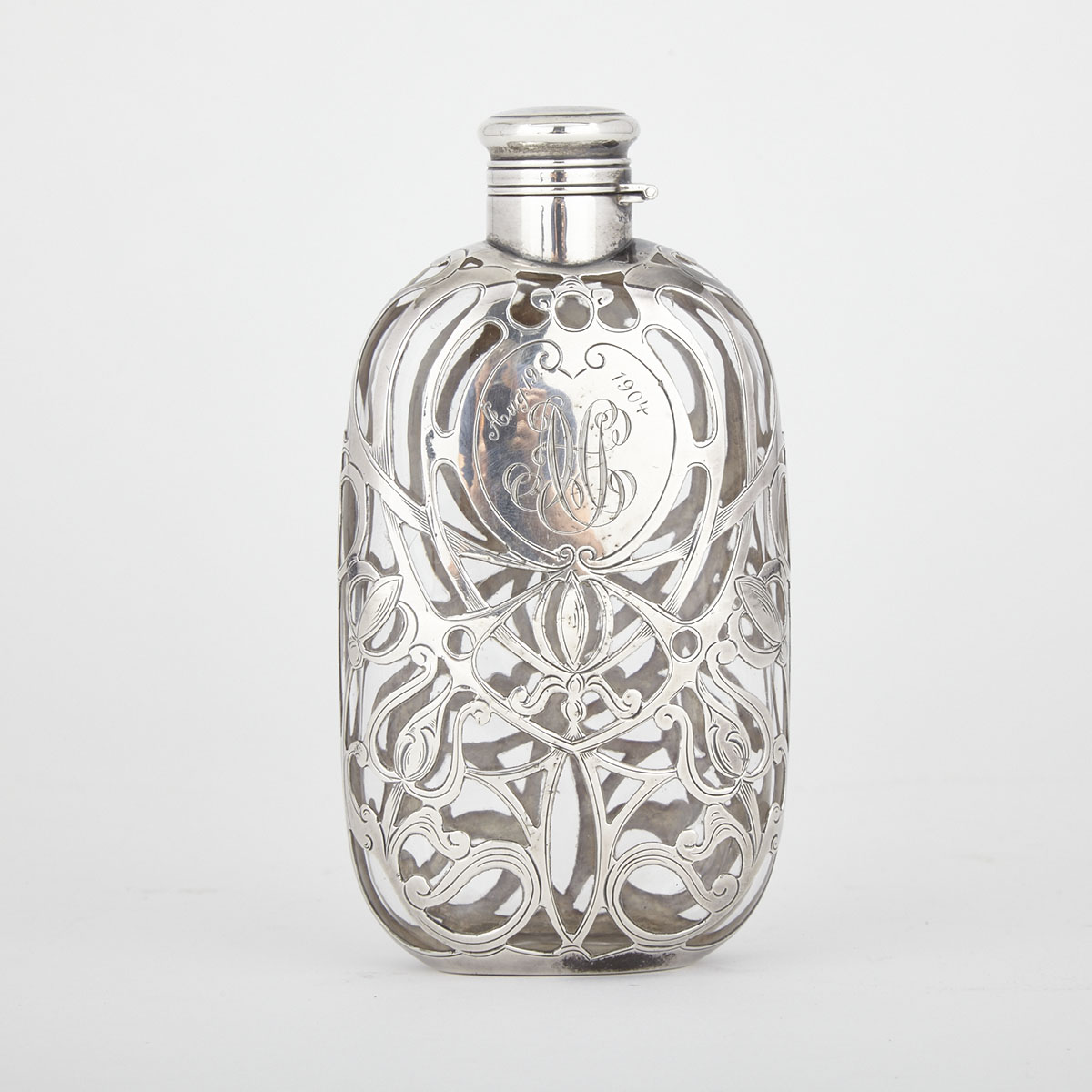 American Silver Overlaid Glass Spirit Flask, Gorham Mfg. Co., Providence, R.I., c.1900