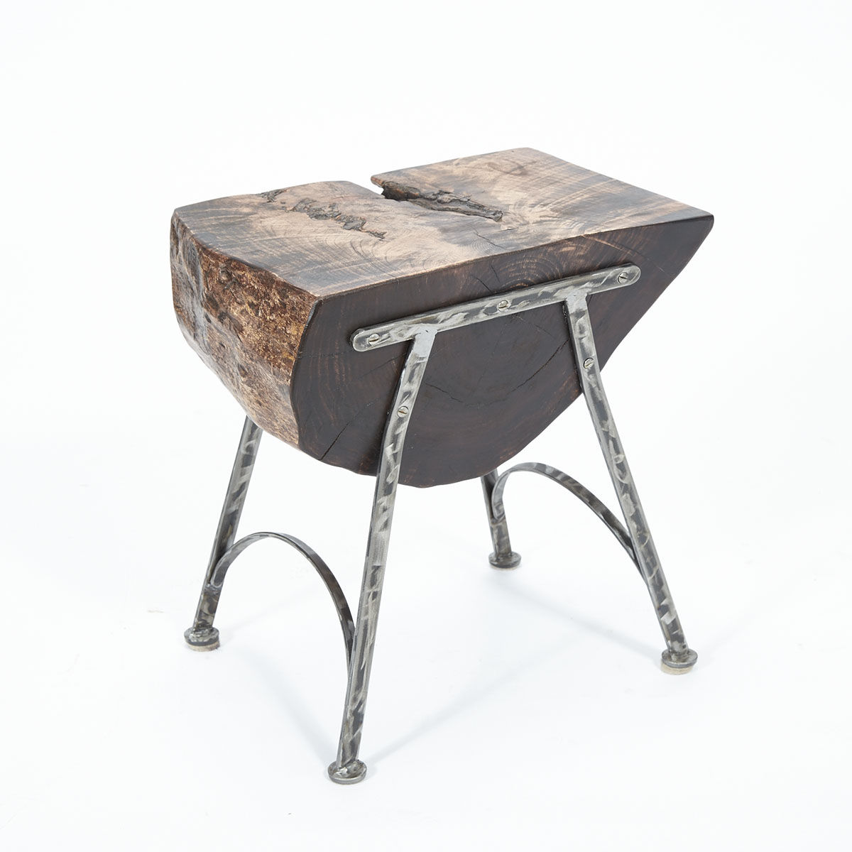 Contemporary Cherry Free Edge Log Table/ Stool on Wrought Iron Stand