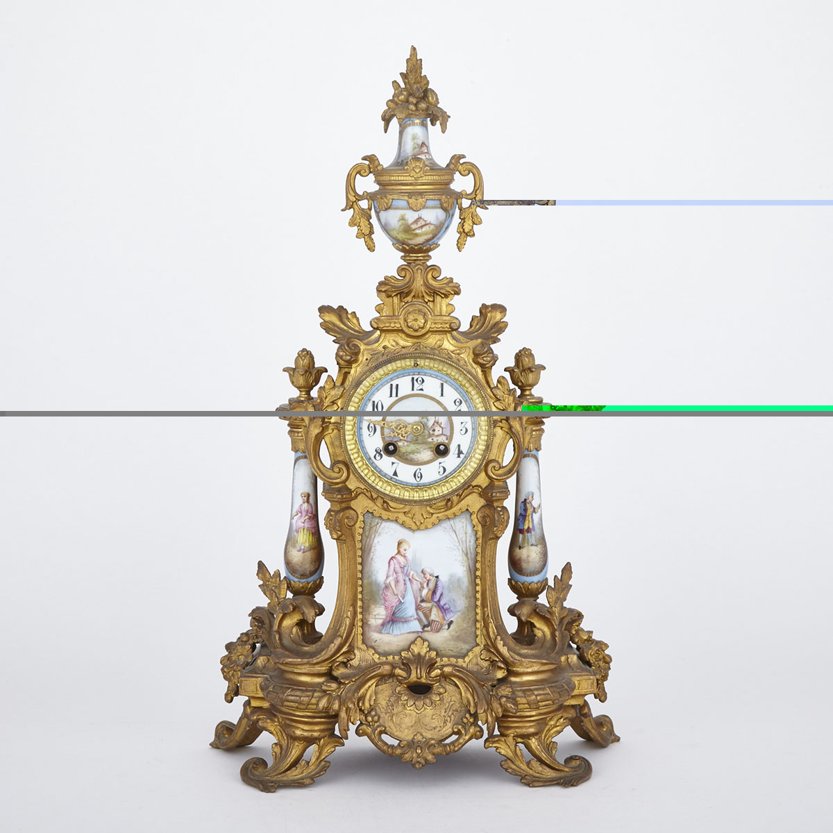 Napoleon III Sevres Style Porcelain Mounted Gilt Metal Mantel Clock, French, c.1870