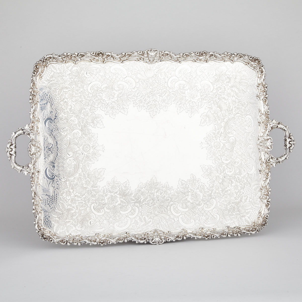 English Silver Plated Two-Handled Rectangular Serving Tray, Barker-Ellis Silver Co., 20th century