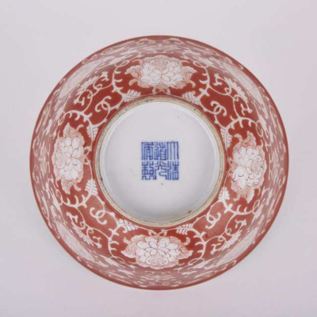 A CORAL-GROUND REVERSE-DECORATED 'LOTUS' BOWL, DAOGUANG UNDERGLAZE-BLUE SIX-CHARACTER SEAL MARK