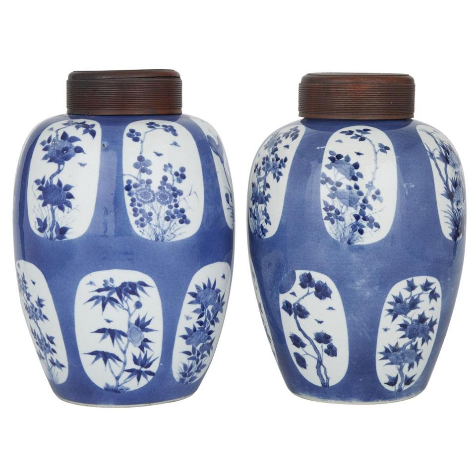 A Rare Pair of Blue and White 'Twelve Months' Ginger Jars with Covers, Qing Dynasty, 19th Century