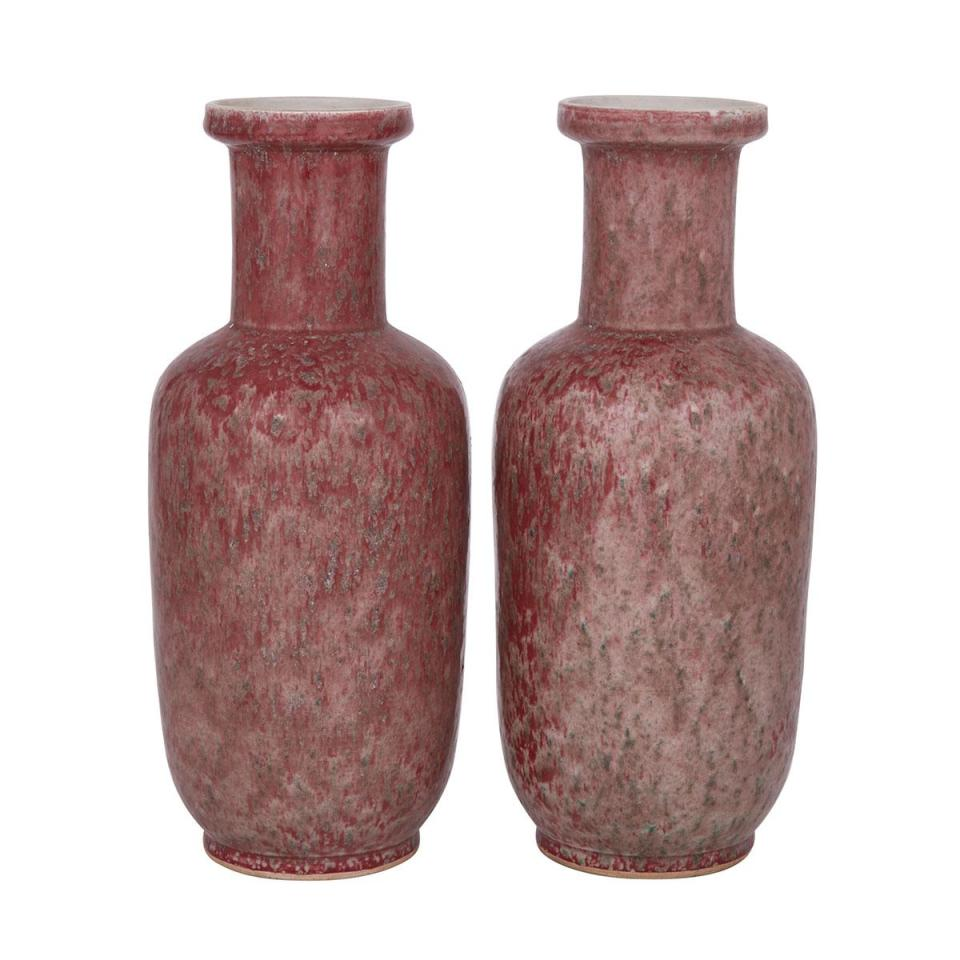 A Pair of Copper Red Baluster Vases