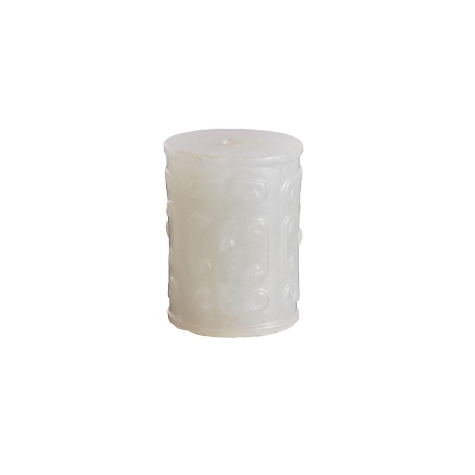 A Pale White Jade Archaistic Cylindrical Bead, 18th Century