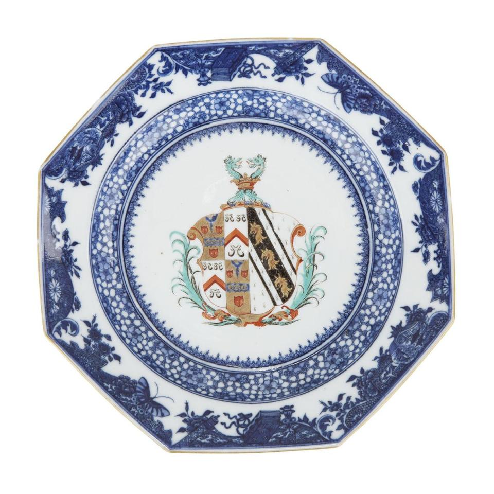 A Chinese Export Armorial Plate, Sainthill of Devon, Qianlong Period, Circa 1770