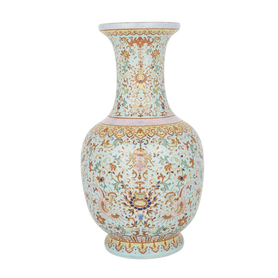 A Rare Turquoise-Ground Famille Rose Yangcai Vase, Daoguang Mark