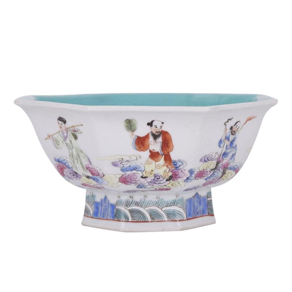 A Famille Rose 'Eight Immortals' Octagonal High-Footed Bowl, Jiaqing Mark