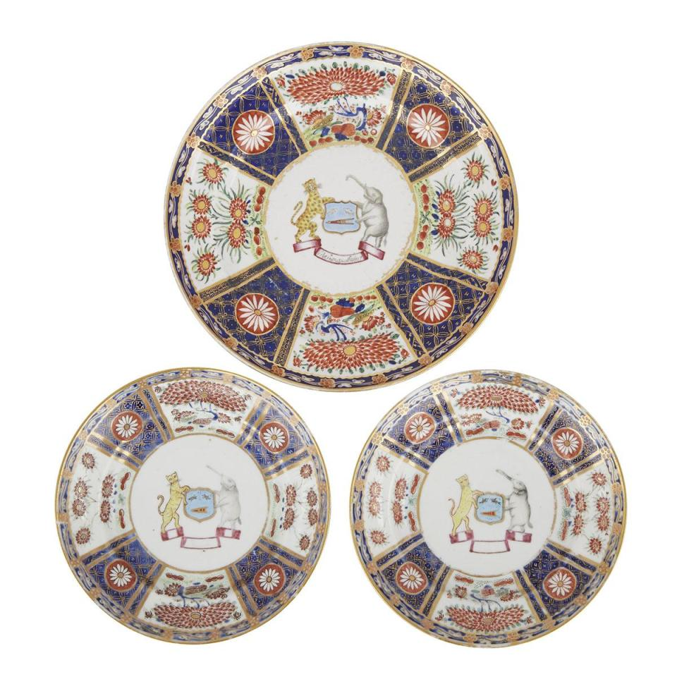 A Chinese Export Armorial Plate With A Pair of Saucers, Indian Market, Jiaqing Period, Circa 1820