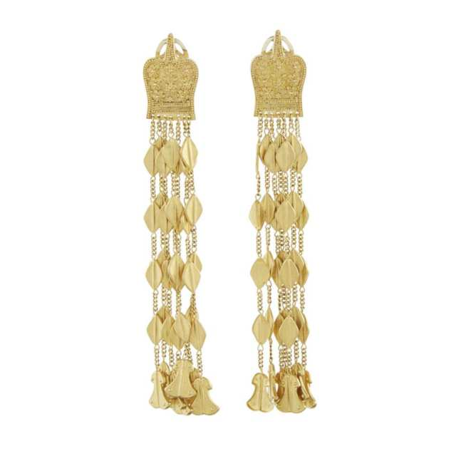 Pair Of Lalaounis 18k And 22k Yellow Gold Etruscan Revival Style Drop Earrings