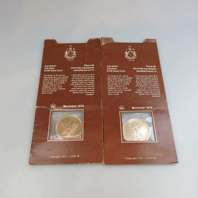 Two Canadian 1976 $100 Gold Coins
