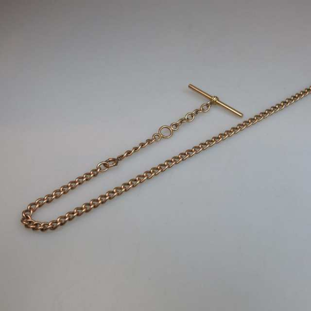 14k Rose Gold Curb Link Watch Chain