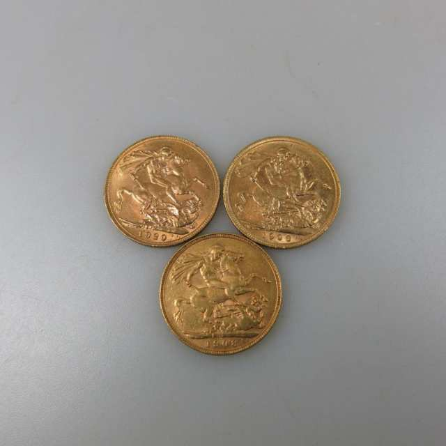 Three Perth Australia Gold Sovereigns