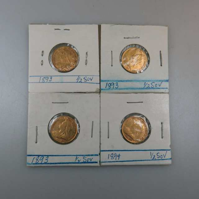 Four British 19th Century Gold Half Sovereigns