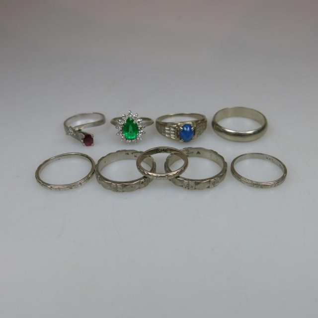 1 x 18k, 4 x 14k & 4 x 10k White Gold Rings And Bands