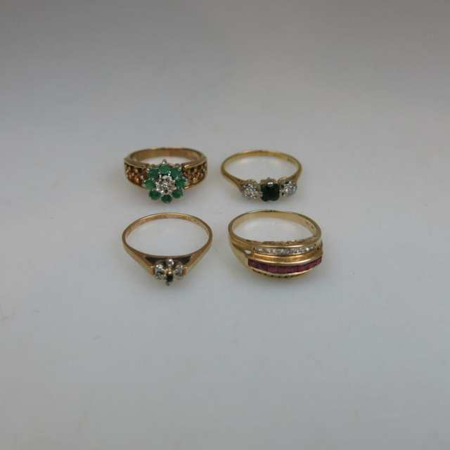 1 x 9k, 1  10k, 1 x 14k & 1 x 18k Yellow Gold Rings
